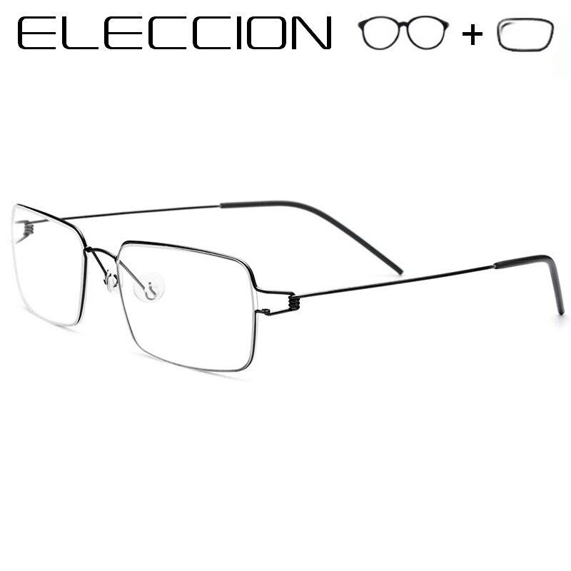 7459404331 Gafas graduadas de ELECCION para hombre, montura de titanio ultraligera,  gafas de miopía, gafas ópticas cuadradas para hombre, gafas sin tornillos
