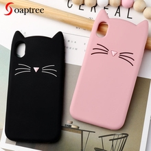 Soaptree Case For iPhone 7 6 X Cases 3D Cute Cartoon Cat Ear Silicone Coque Cover 6S 5 5S 8 Plus XR XS Max Bumper