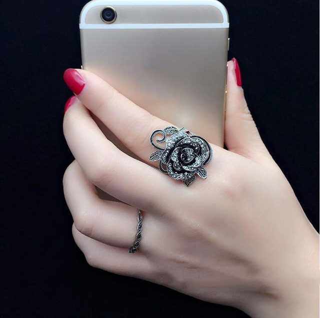 Beautiful Black Rose Sliver Ring For Women Best For Party And Wedding 2