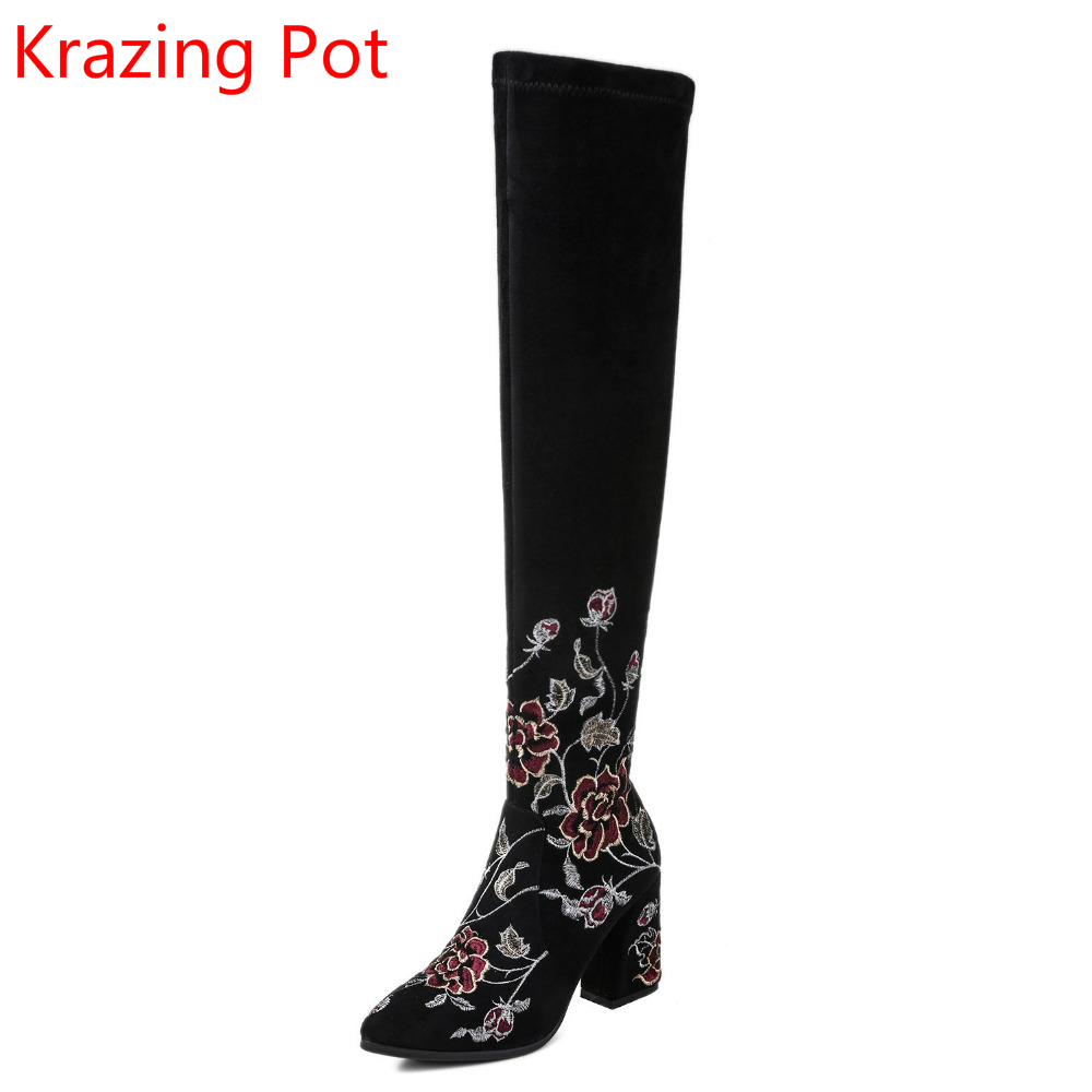 2018 Superstar Cow Suede Embroidery Keep Warm Flower Pointed Toe Winter Boots Sweet Runway High Heels Over-the-knee Boots L71 2018 superstar cow suede streetwear square toe zipper high heels winter boots keep warm office lady ankle boots for women l50