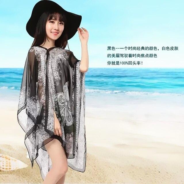Sunscreen Swimsuit Luxury Chiffon Scarf Blouse Beach Poncho Cover Up Towel Pashmina Dresses Geometric Shawl Scarves Women Scarf Towel Cotton Towel Beachclothing Spandex Aliexpress