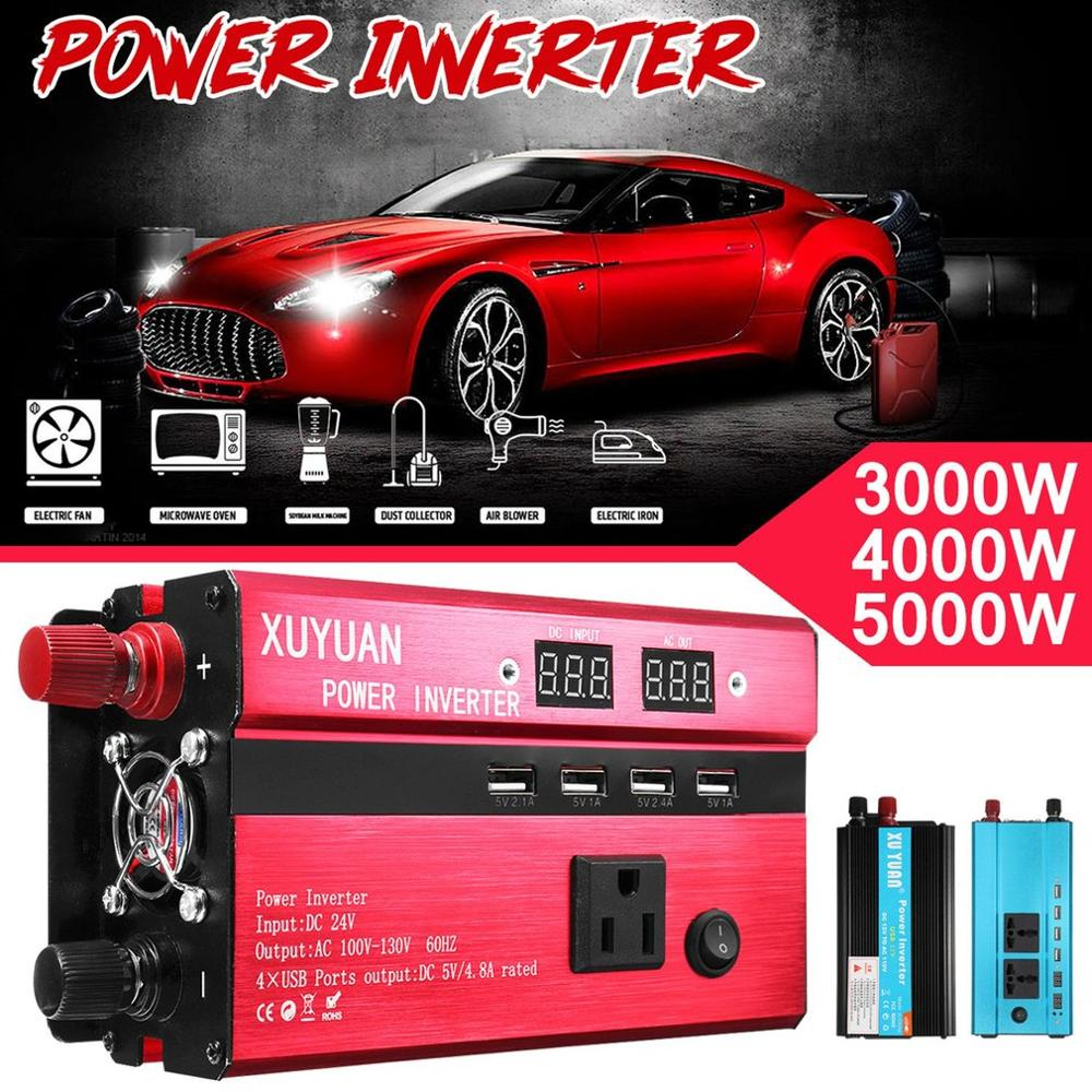 3000W Portable Car Solar Power Inverter Sine Wave Converter  12 V 110 V Voltage Converter 12v To 110v Car Charger Volts Display