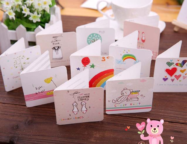 Festive cartoon greeting card party wedding invitation mini cards with envelope Birthday Easter Anniversary Mothers Day Thanks