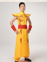 Man Chinese Folk Dance China Dragon Costume Male Younger Drum Dance Costumes Spring Festival Stage Performance