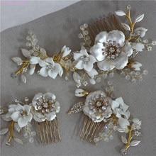 Jonnafe Gold Color Wedding Hair Comb Pins Delicate Porcelain Flower Bridal Headpiece Women Prom Hair Accessories