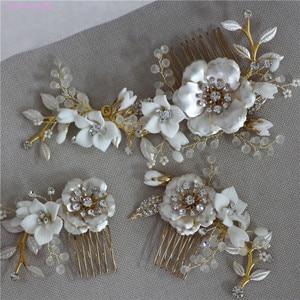Image 1 - Jonnafe Gold Color Wedding Hair Comb Pins Delicate Porcelain Flower Bridal Headpiece Women Prom Hair Accessories
