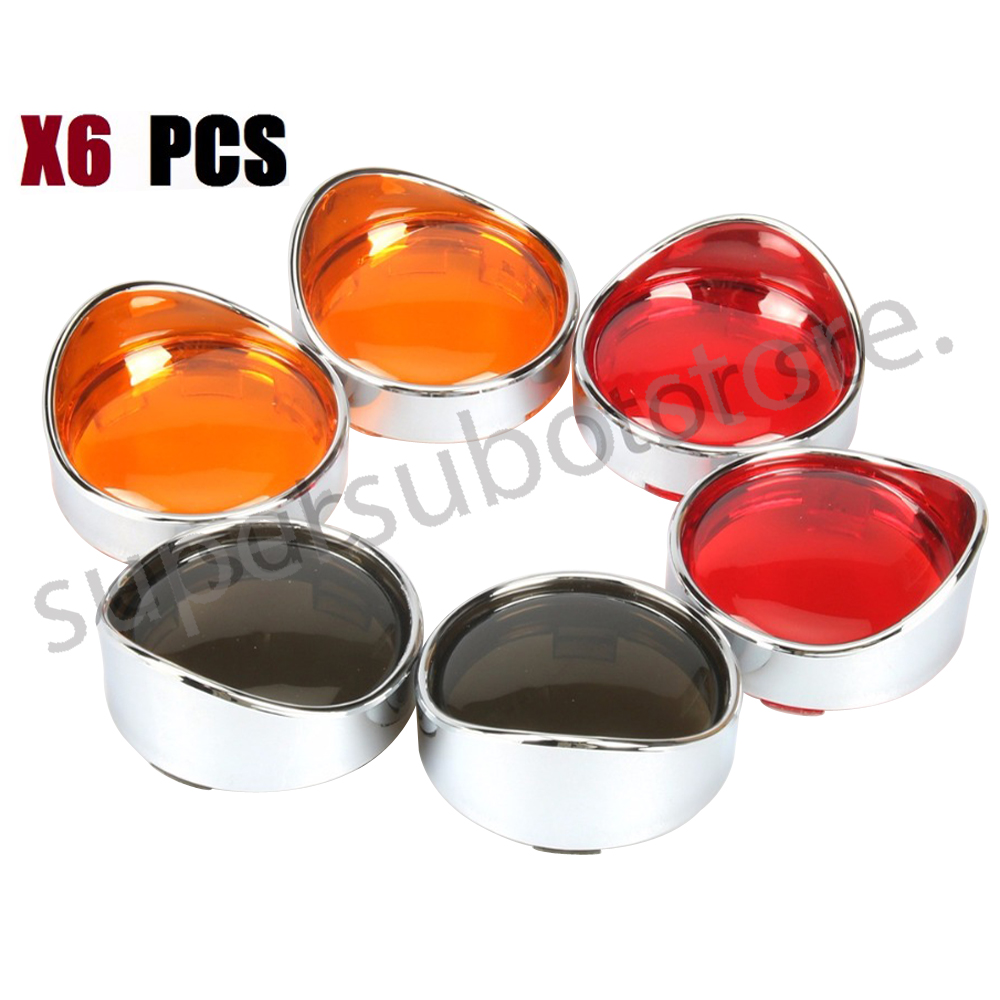 Motorcycle Orange, red, smoke Turn Signal Lens + Chrome Visor Ring For Harley Dyna Softail Sportsters touring игрушка ecx torment red orange ecx01001t2