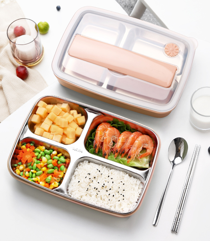 Oneisall Bento Lunch Box Kitchen Food Container Stainless Steel Plastic 1200ml Lunchbox For Kids Heated Lunch Japanese Style in Lunch Boxes from Home Garden