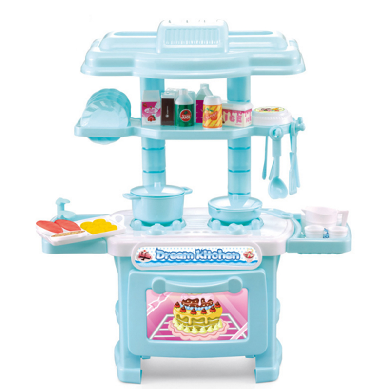 New Arrival 1 Pcs Set Pretend Play Kitchen Simulation Kids Play House Toys Girl Light Music Tableware Sets Baby Toys Cooking Toy