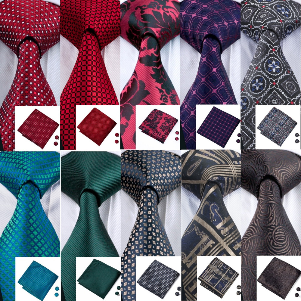 33 Styles Tie For Men Ties Colorful Silk Classic Jacquard Woven Tie Hanky Cufflinks Set For Business Party Wedding Neckties