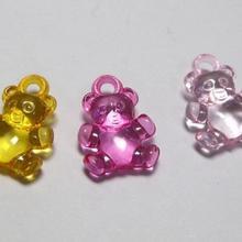100 разноцветные прозрачные акриловые подвески в виде медведя 20X15 мм