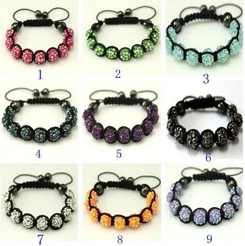 wen women disco ball+Free Shipping+Gift.9Pcs/Lot Mixed 9 Color Hotsale Resin rhinestone bead jewelry.crystal Bracelet For Men.