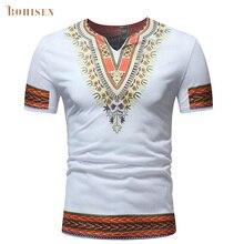 BOHISEN African Men T-shirt Clothes African Traditional Print Dashiki White Slim Formal Dress Short Sleeve Male Clothing