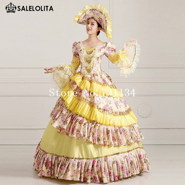 2016 High Quality Yellow Floral Medieval Victorian Dress Marie ...
