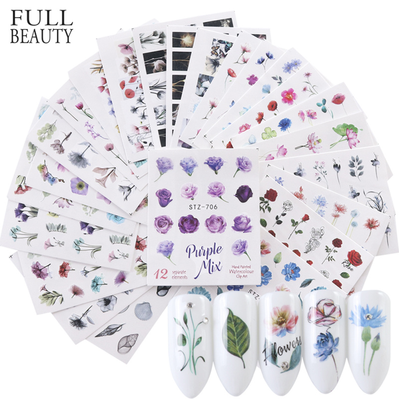 Full Beauty 24pcs Watercolor Floral Flower Sticker Nail Decal Set Flamingo Letter