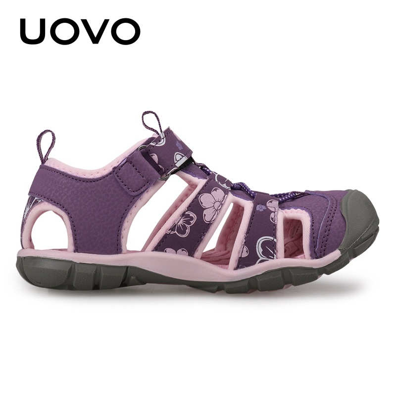 UOVO NEW 2018 Summer Girls Sandals Shoes Fashion Outdoor Princess Beach Shoes Breathable Casual Hook & Loop For Child Size 25-35