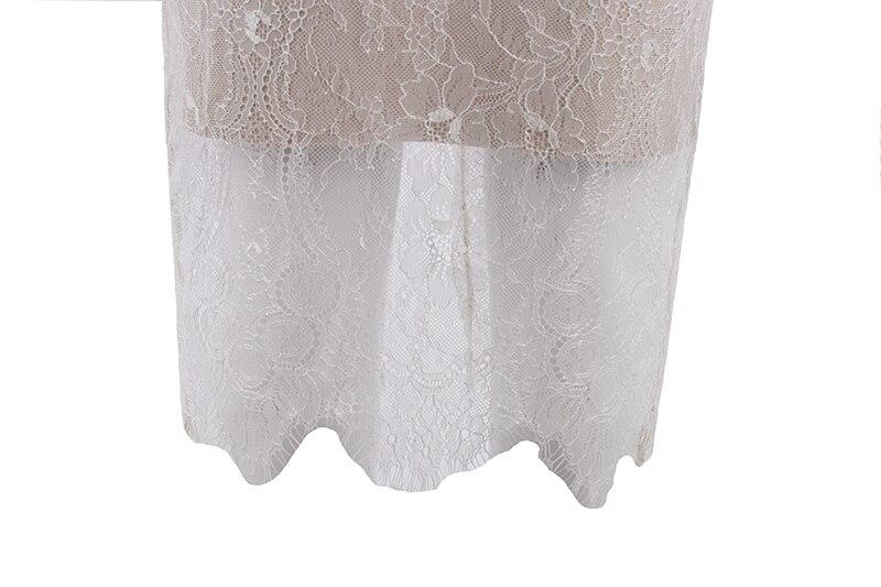 De Bandage Célébrité Femmes V Sexy Genou D'été 2017 Dentelle Robes longueur Cou Sans Partie Robe Blanc Manches HwU6q
