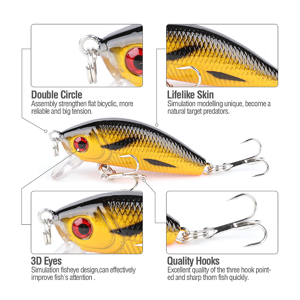 DONQL 2pcslot Minnow Fishing Lure 4.4cm 3.6g Wobblers Crankbait Artificial Hard Baits Topwater Floating Fishing Tackle          (1)