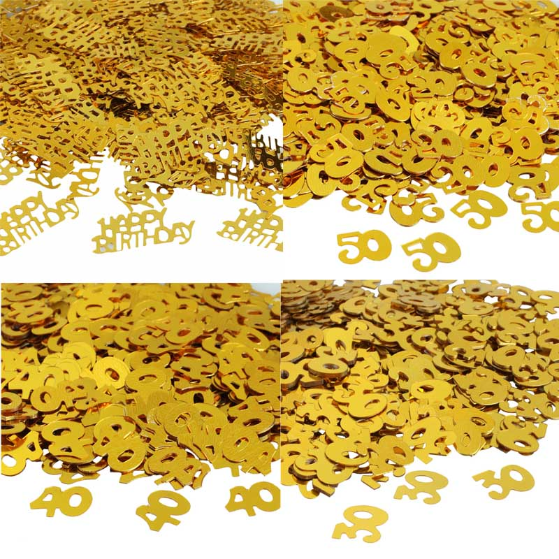 30 40 <font><b>50</b></font> Happy Birthday Confetti Decoration Gold Numbers Party Table Scatter Adult Birthday Party Balloons Decorations image
