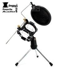 Desktop Stand Tripod Spider Microphone Shock Mount Mic Shield Wind Screen Pop Filter Mike Clamp For Telefunken M60 M61 M62 M80