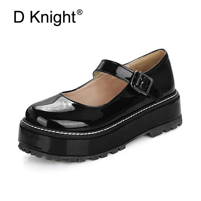 Women Platform Creepers Shoes Woman Round Toe Mary Janes Wedge Heel Shoes Buckle Strap Ladies Pumps Shoes For Women Size 43 D65 lankarin brand 2017 summer woman pointed toe flats ladies platform fashion rivet buckle strap flat shoes woman plus size