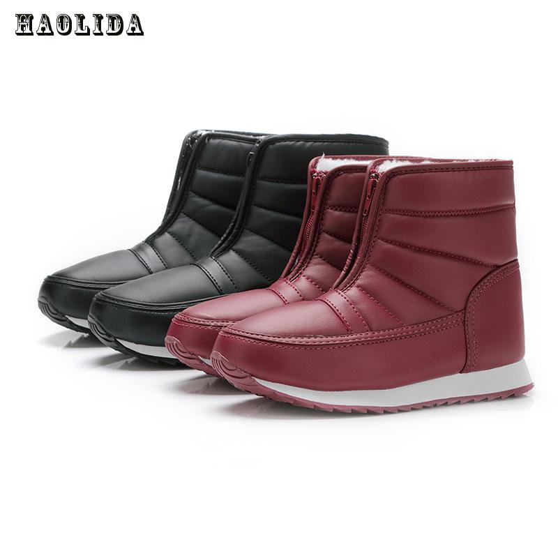 2017 Winter Lovers Boots Warm Solid Anti-slip Snow Boots Women Waterproof Female Thermal Shoes Botas Mujer Plataforma Black&Red