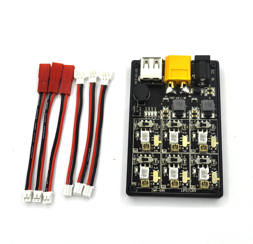 ZMR 6 In 1 1s 6IN1-1S Low voltage Automatic alarm Charger Board for RC Lipo LiHV Lithium Batteries Charger rc model 2s 3s 4s detect lipo battery low voltage alarm buzzer