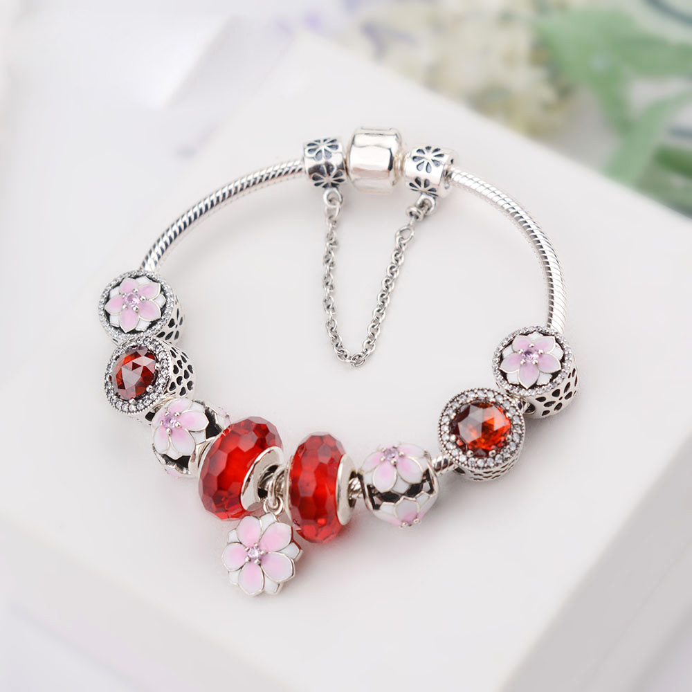 NEW NEW 100% 925 Sterling Silver Bracelet Set For Europe Women Spring Pink Flowers DIY Gift Original Red Charm Bead JewelryNEW NEW 100% 925 Sterling Silver Bracelet Set For Europe Women Spring Pink Flowers DIY Gift Original Red Charm Bead Jewelry