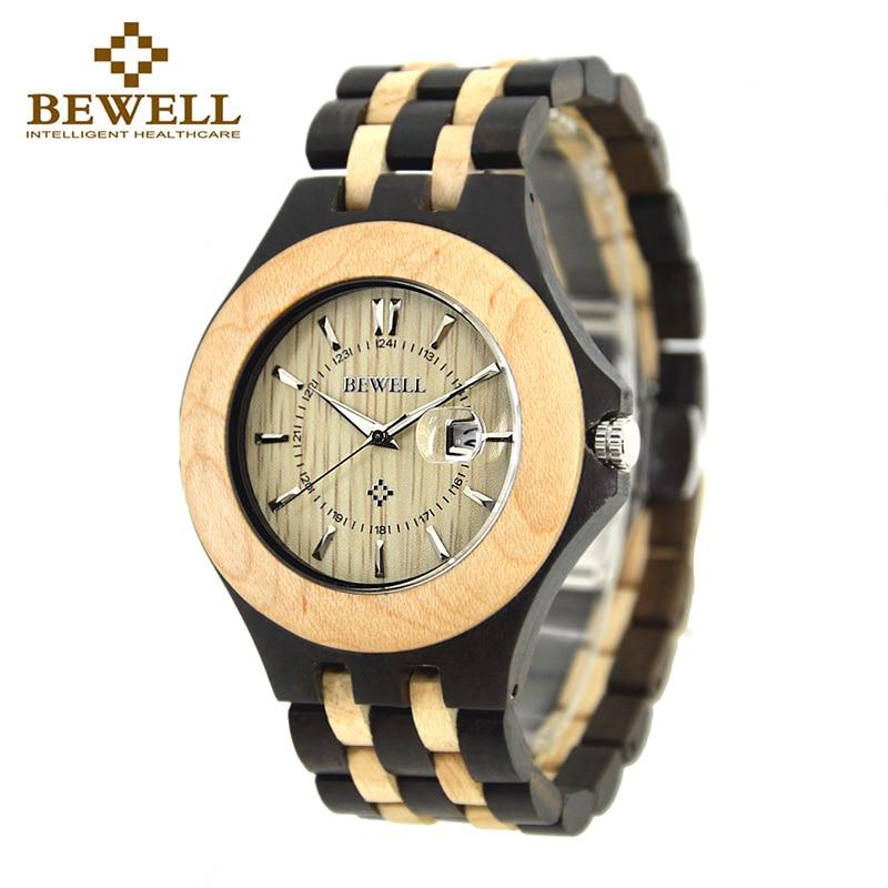 BEWELL Hodinky z přírodního dřeva Ručně vyrobené hodinky - Pánské hodinky