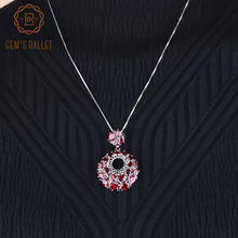 GEM'S BALLET New Natural Red Garnet Colar de Pingentes de Pedras Preciosas 925 Sterling Sliver Rodada Do Vintage Para As Mulheres Wedding Fine Jewelry(China)
