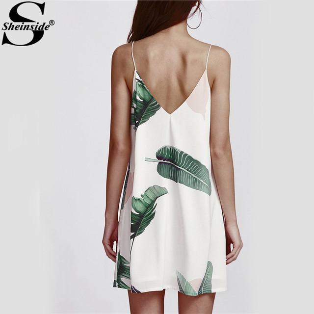 Sheinside White Cami Summer Dress Women Palm Leaf Print Double V Neck Casual Shift Dresses 2017 Fashion Sexy Sleeveless Dress