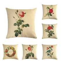 Acuarela Retro flor hogar decorativo almohada cubierta sofá Vintage rosa lirio algodón Oficina silla corona cojín cubierta ZY28