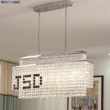 BOCHSBC diseño creativo DIY logotipo negro colgante luces rectángulo K9  cristal lámpara para la sala de comedor Led Lampara