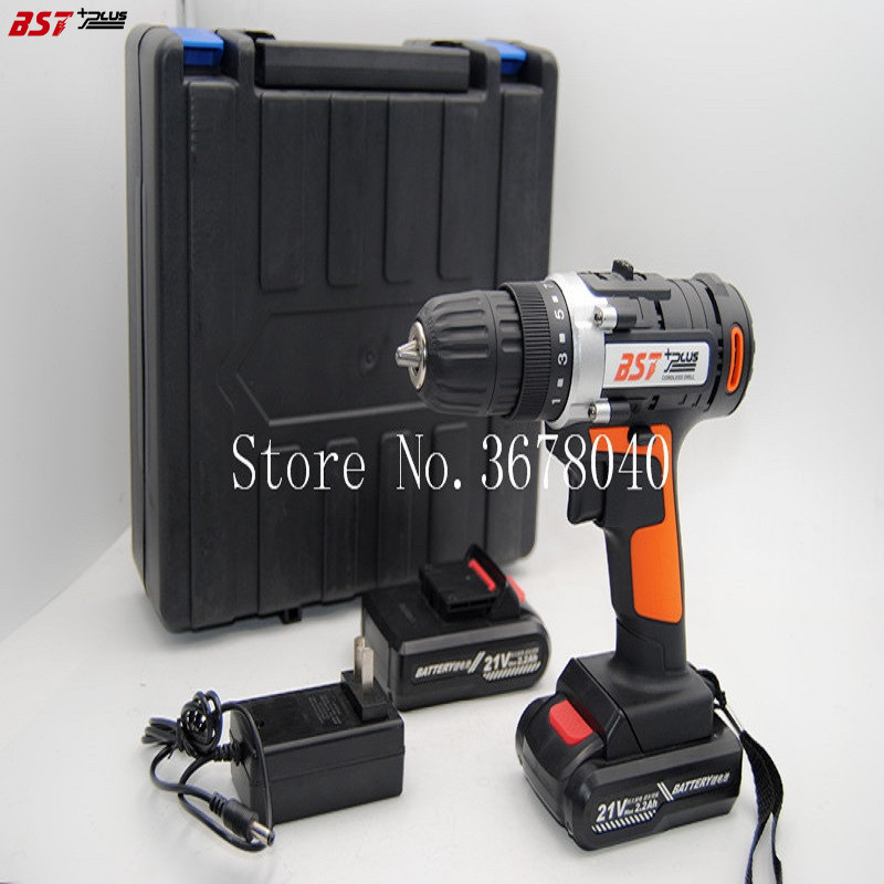 BST+PLUS 21V LITHIUM BATTERY 2 SPEED CORDLESS DRILL MINI DRILL HAND TOOLS ELECTRIC DRILL POWER TOOLS SCREWDRIVER wosai 20v cordless electric hand drill lithium battery electric drill cordless 2 speed drill electric screwdriver power tools
