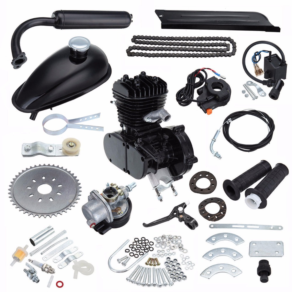 (Ship From Germany) 80cc Gas Bike Motor Kit Black 2 Stroke Bicycle Motorized Engine Air Cooling