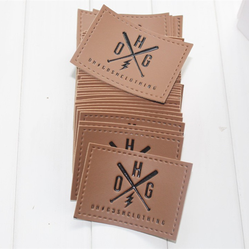 Custom Printed And Debossed  PU Leather Patch PU Label For Jeans Bags 1000pcs Lot