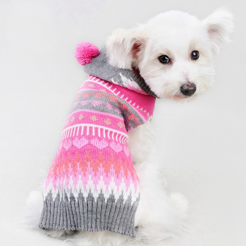 2017 가을과 겨울 크리스마스 로즈와 그레이 스트라이프 개 스웨터와 까마귀가 달린 옷 애완용 개용
