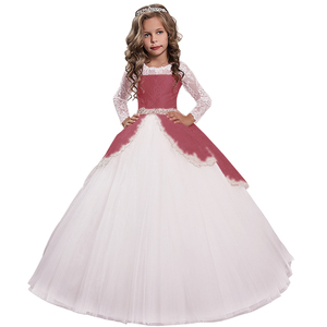 Image 5 - New Princess Lace Flower Girl Dresses Long Sleeves Floor Length Pageant Dresses First Communion Dresses Ball Gowns For Girl
