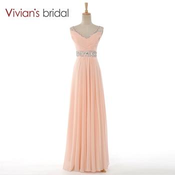 Vivian's Bridal Sexy V-Neck Chiffon Beaded Long Off the Shoulder Evening Dresses  robe de soiree Summer Style 8081