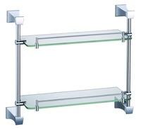 FREE SHIPPING BRASS SQUARE DESIGN double glass shelf chrome finish