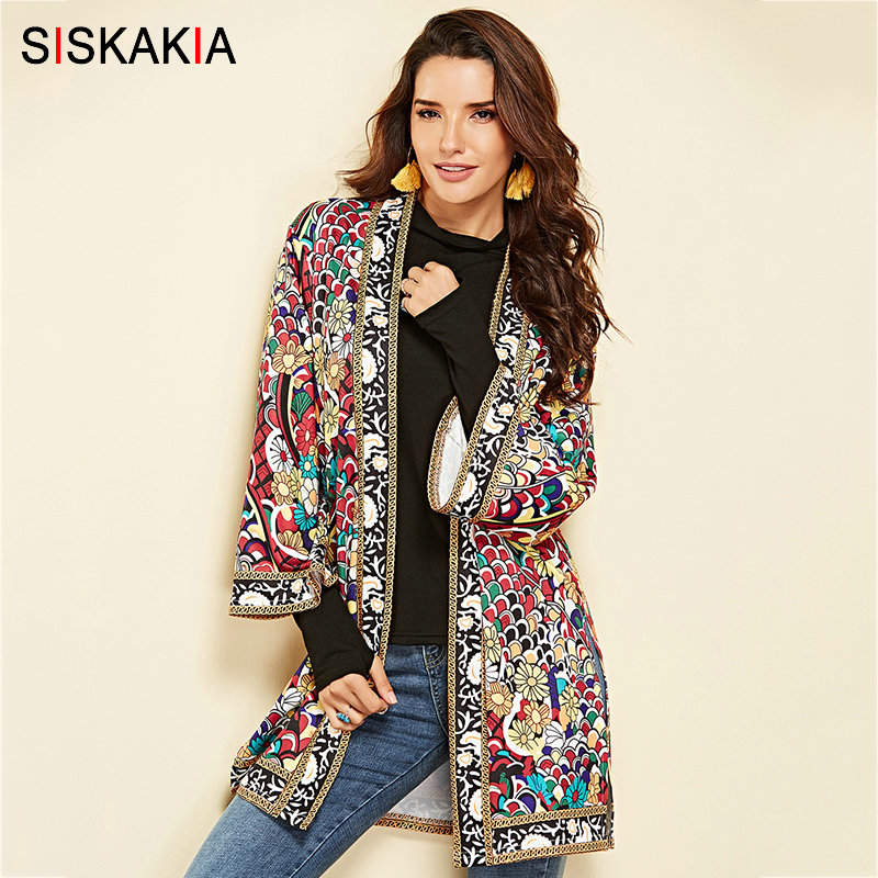 Siskakia Fashion Colored Floral Cardigan Blouses Spring Autumn 2019 Hot Selling Vocation Beach Cover UP Side Split Women Tops