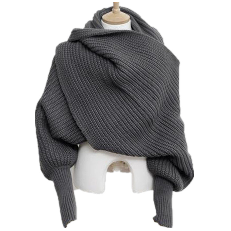 Korean Knitted LICs Scarf Collar Unisex Winter Warm Long Sleeve Poncho Scarves For Women Knit Shawls Stole Men's Sweater Scarfs