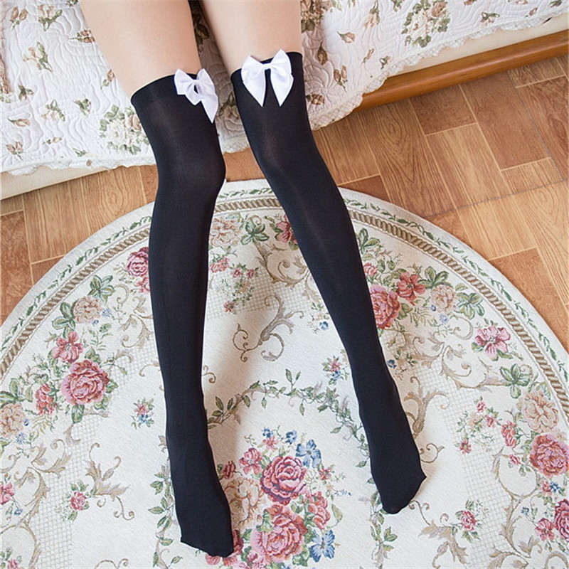12 Colors Women Bow Lace Stockings For Halloween Costume Fashion Nylon Thigh High Stocking Over Knee Socks White Pink Black Red
