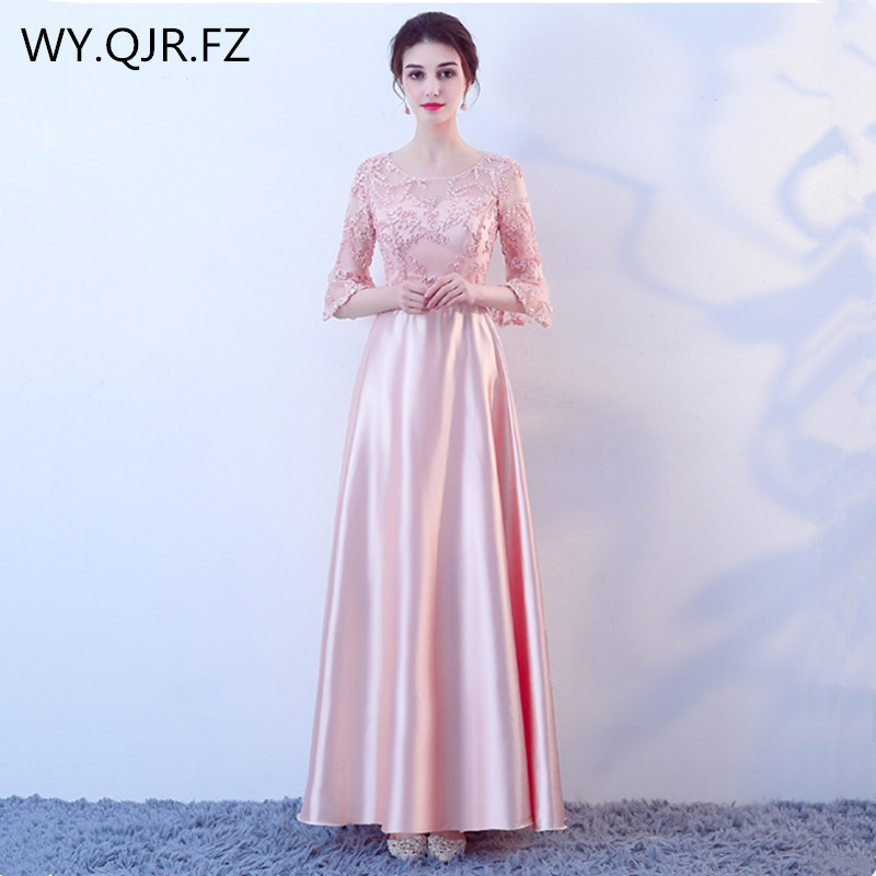 KBS019Y#Peach pink lace up O-Neck long   Bridesmaid     dresses   wedding party   dress   2018 gown prom wholesale cheap fashion women   dress