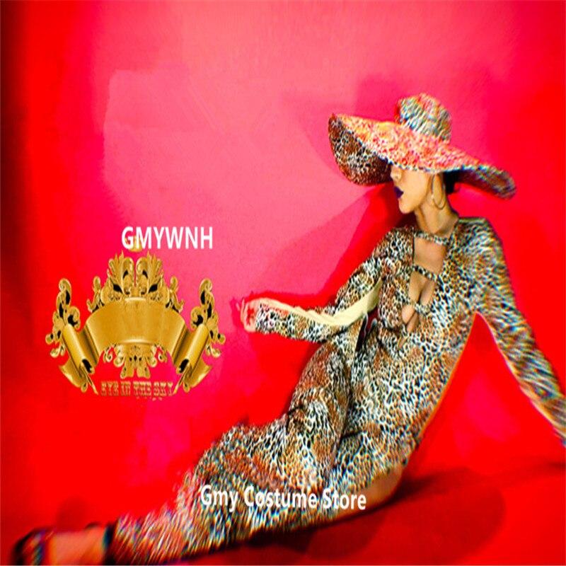 K21 Для женщин пикантные леопардовые боди Женский Пром комбинезон dj Бар производительности Подиум носит большая шляпа gogo платье одеть бар на