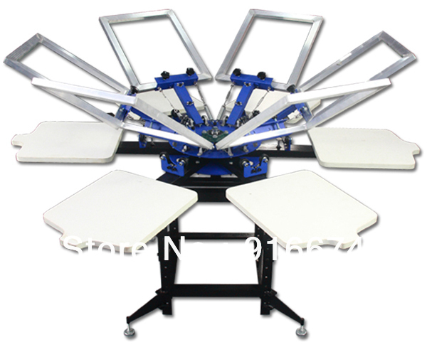 FAST and FREE shipping! 6 Color 6 station Screen Printing Machine Press  t-shirt printer equipment carousel free shipping 2016 new updated ce approved 5 nails printing machine nails and flower printer