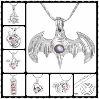 Gorgeous Angel Wings Charms Pendant Fashion Pearl Cage Pendant Valentine Gift Locket 30pcs Mix Styles With Serpent Chain PJW2013