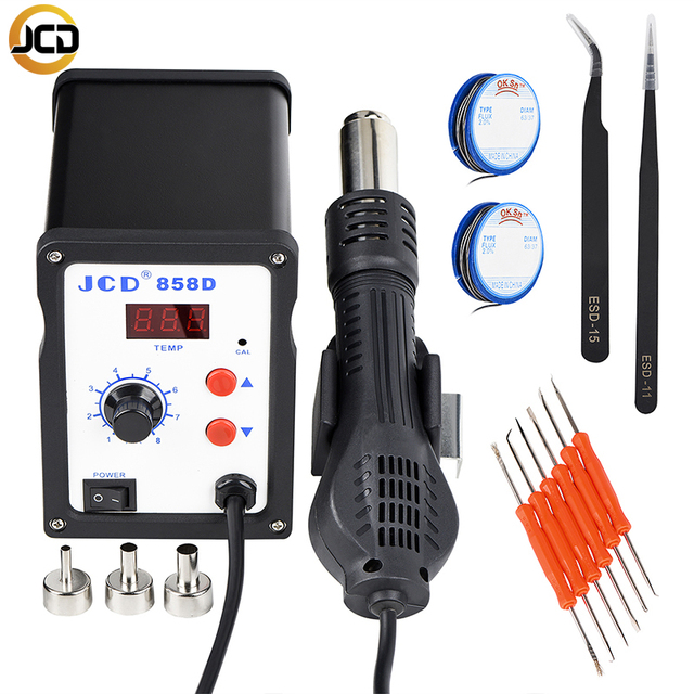JCD858D Hot Air Soldering Station 220V/110V 700W hot air gun Electric Soldering Iron Kit quality DIY and SMD Rework
