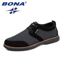 BONA New Arrival Style Men Casual Shoes Lace Up Men Loafers Suede Mesh Men Flats Comfortable