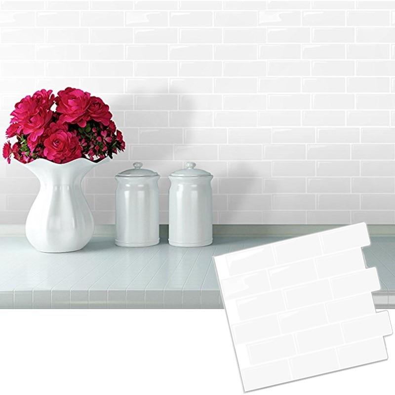 Weiß U Bahn Zurück Splash Fliesen Schälen Und Stick Selbstklebende Wand  Aufkleber Aufkleber DIY Küche